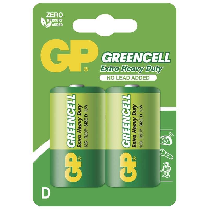 Zinkochloridová baterie GP Greencell R20 (D), blistr