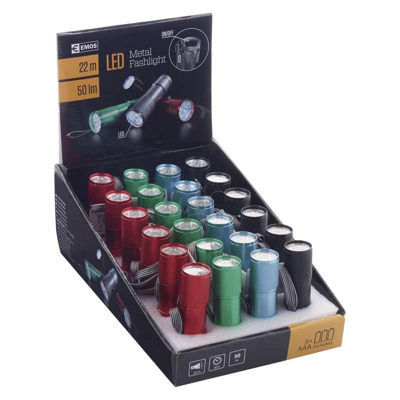 LED svítilna  kovová, 9x LED, na 3x AAA