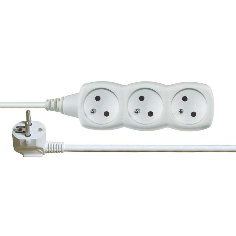 Prodlužovací kabel – 3 zásuvky, 5m, bílý