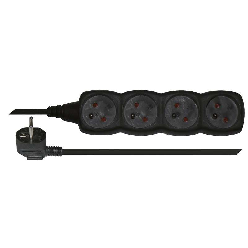 Prodlužovací kabel – 4 zásuvky, 5m, černý