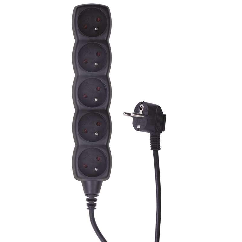 Prodlužovací kabel – 5 zásuvek, 3m, černý
