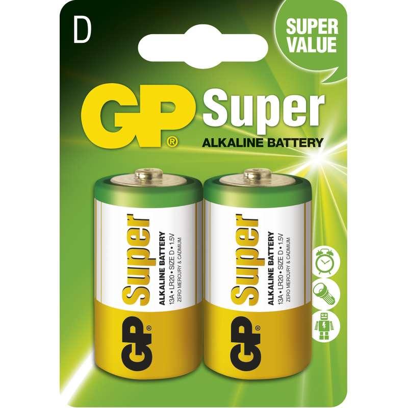 Alkalická baterie GP Super LR20 (D), blistr