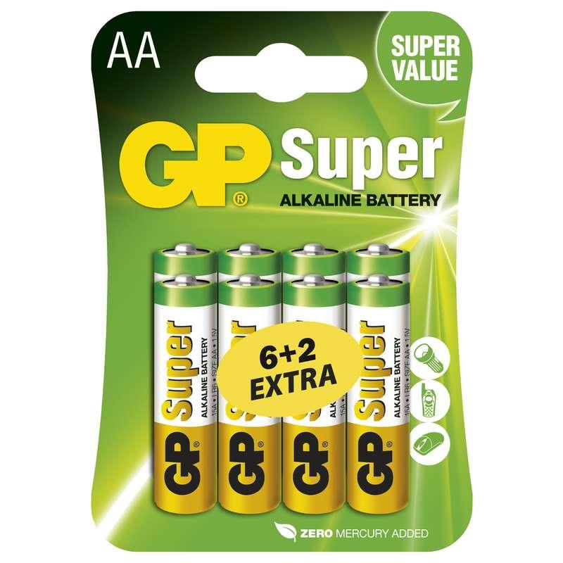 Alkalická baterie GP Super LR6 (AA), 6+2 blistr