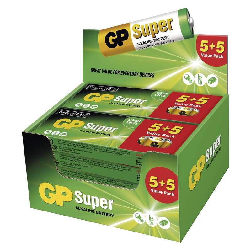 Alkalická baterie GP Super LR6 (AA), display box