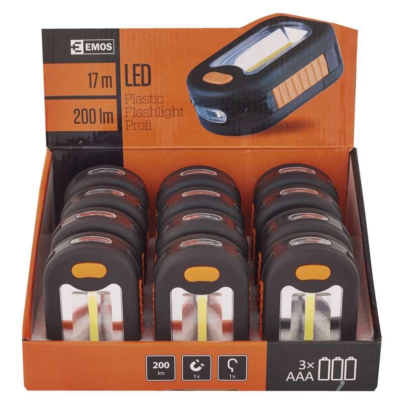LED svítilna plastová, 3 COB LED, na 3x AAA