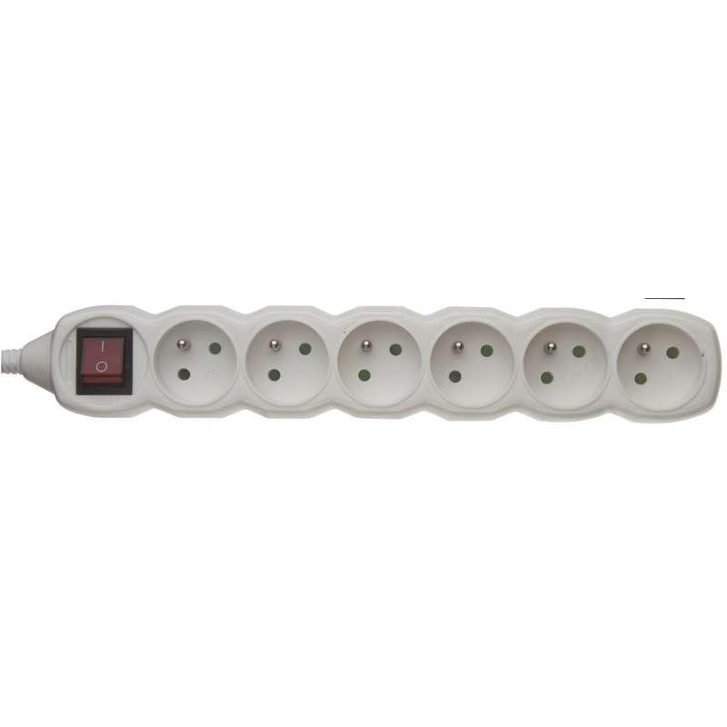 Samostatná 6 zásuvka s vypínačem, bílá