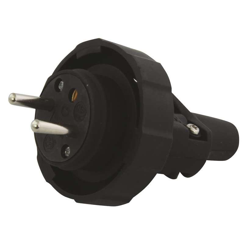 Gumová vidlice pro prodlužovací kabel, černá