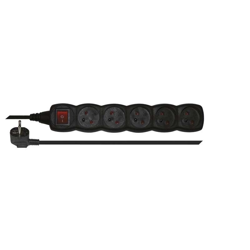 Prodlužovací kabel s vypínačem 5 zásuvek 3m, černý