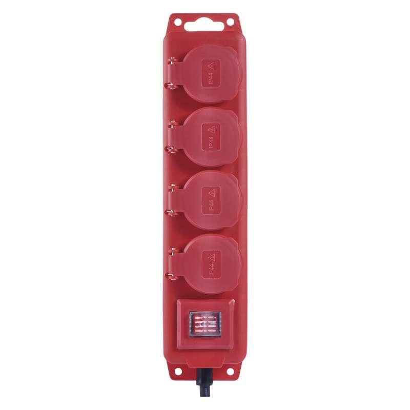 Prodlužovací kabel gumový 4 zásuvky 3m, červený