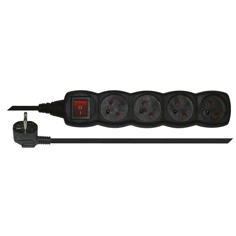 Prodlužovací kabel s vypínačem 4 zásuvky 3m, černý