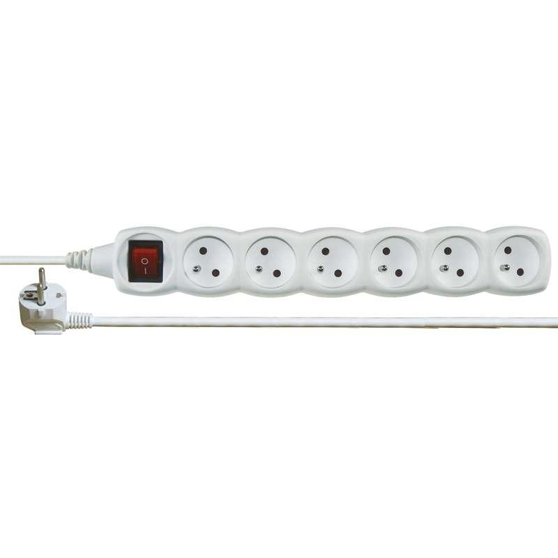 Prodlužovací kabel s vypínačem 6 zásuvky 2m, bílý