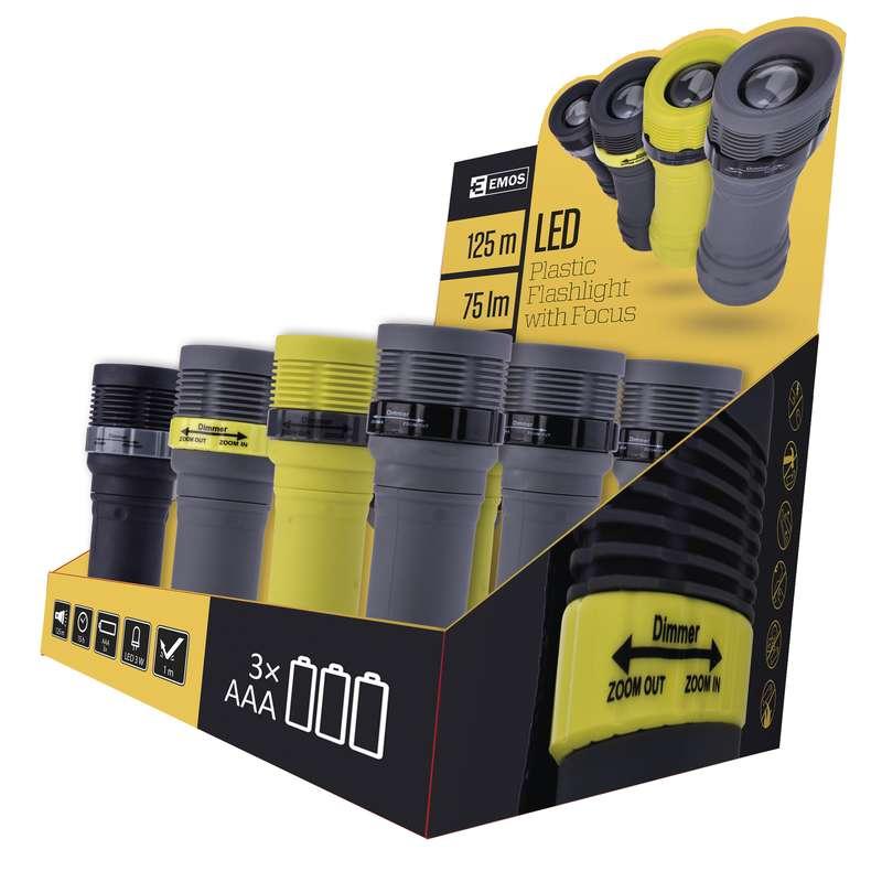 LED svítilna plastová, 1x LED 3W, na 3x AAA, FOKUS, box