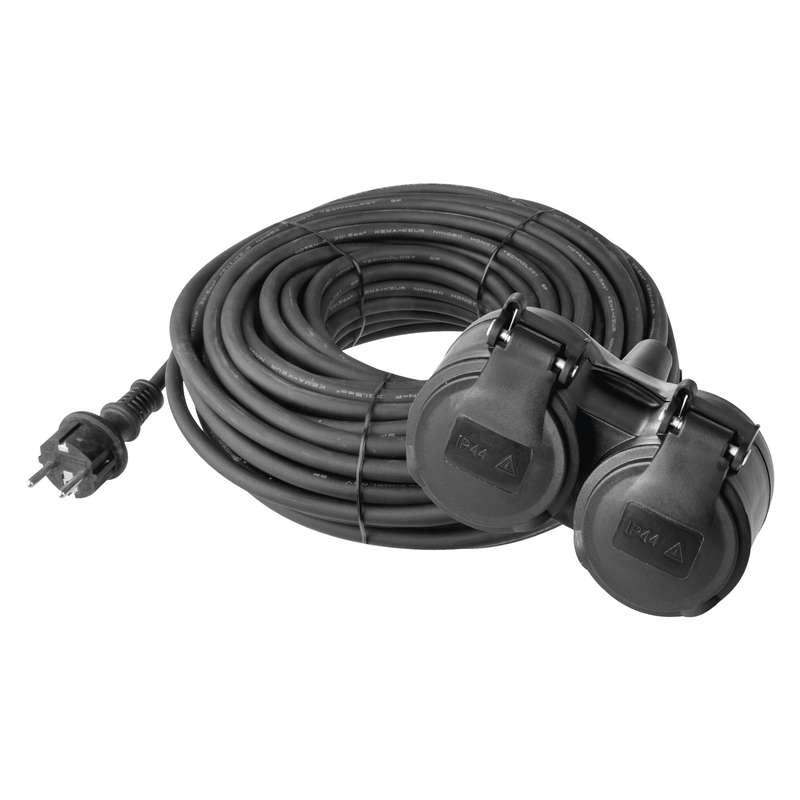 Gumový prodlužovací kabel spojka 10m 2Z 3x 1,5mm, IP44 černý