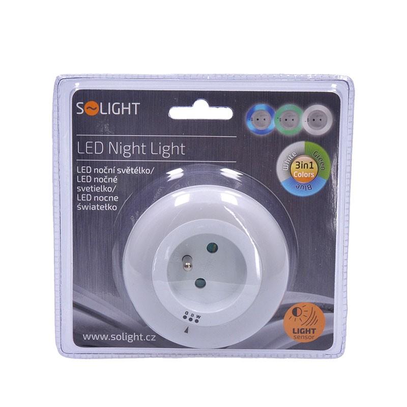 Solight noční LED světélko s průběžnou zásuvkou, volitelné 3 barvy světla, senzor, 230V