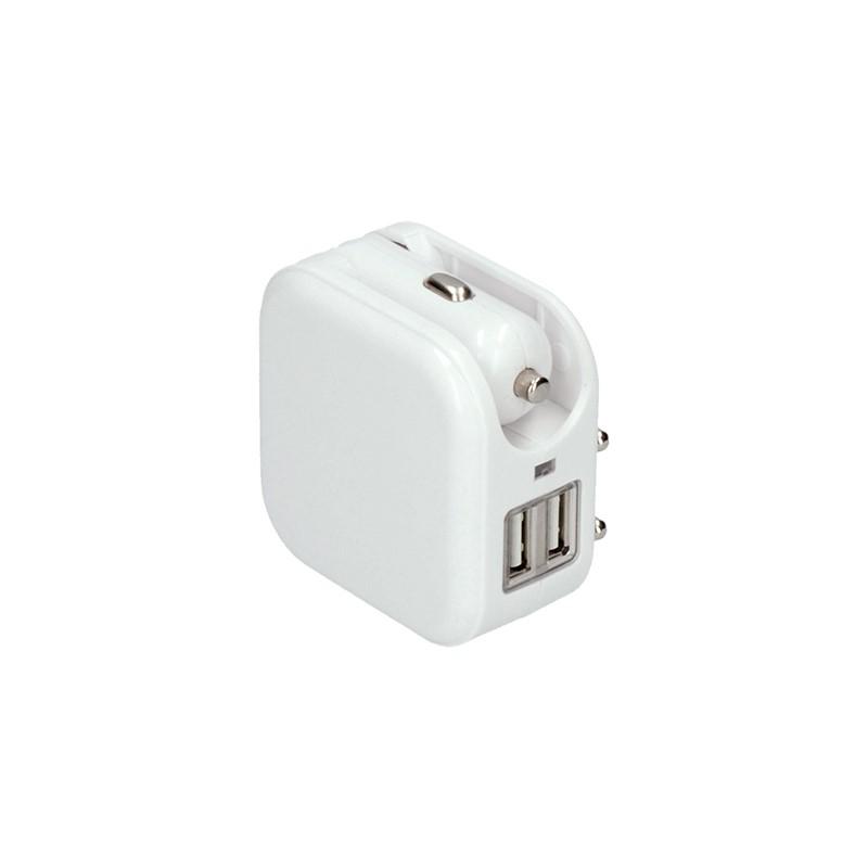 Solight USB nabíjecí adaptér auto+zásuvka, 2x USB, max. 2400mA, AC 230V / DC 12V, bílý
