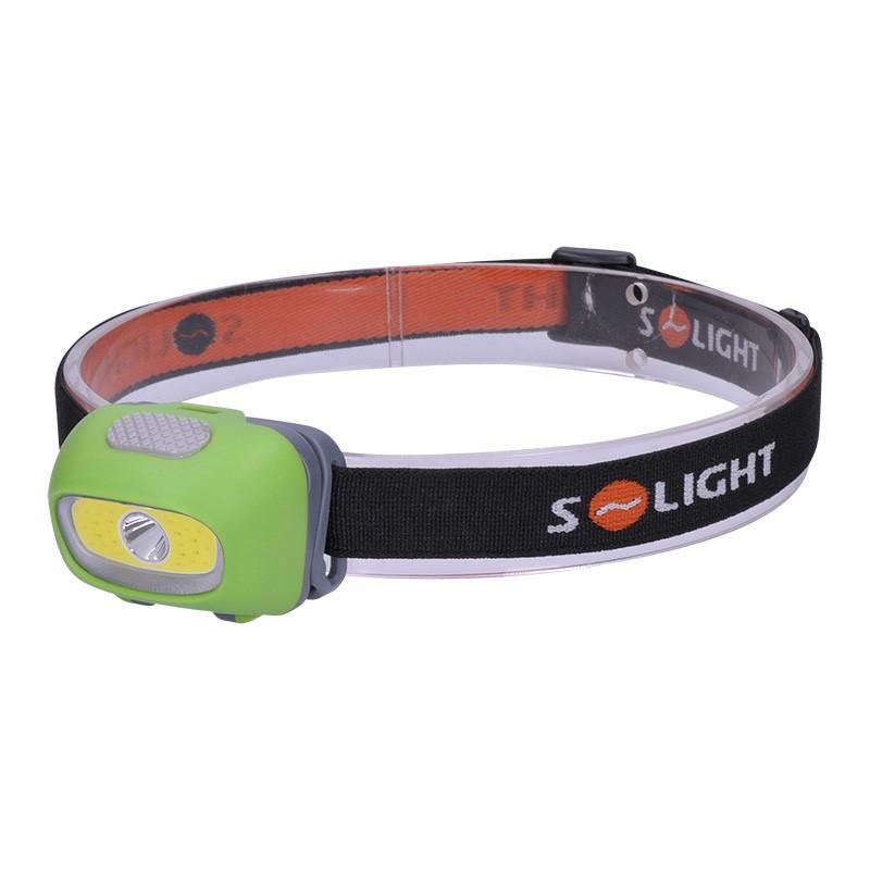 Solight LED čelová svítilna, 3W Cree + 3W COB, 120lm, bílé + červené světlo, 3x AAA