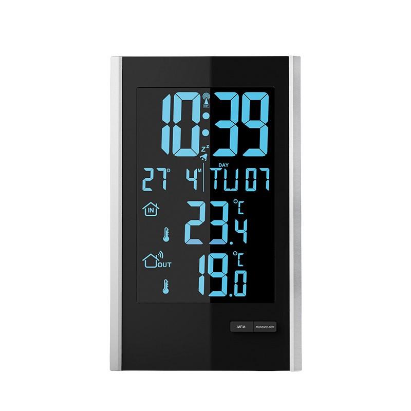 Solight meteostanice, LCD s volitelnou barvou podsvícení, vnitřní/venkovní teplota, RCC, černá/stříbrná