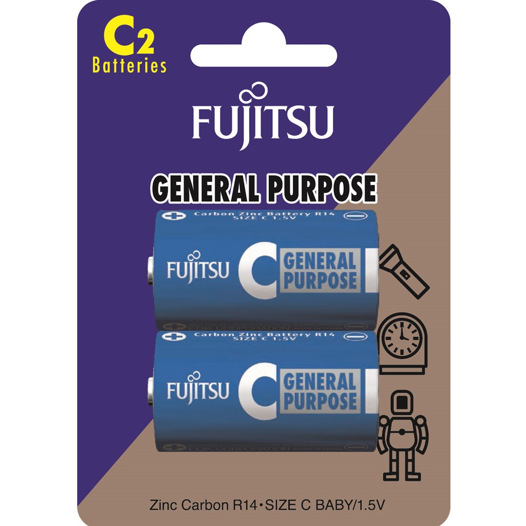 Fujitsu zinková baterie R14/C, blistr 2ks