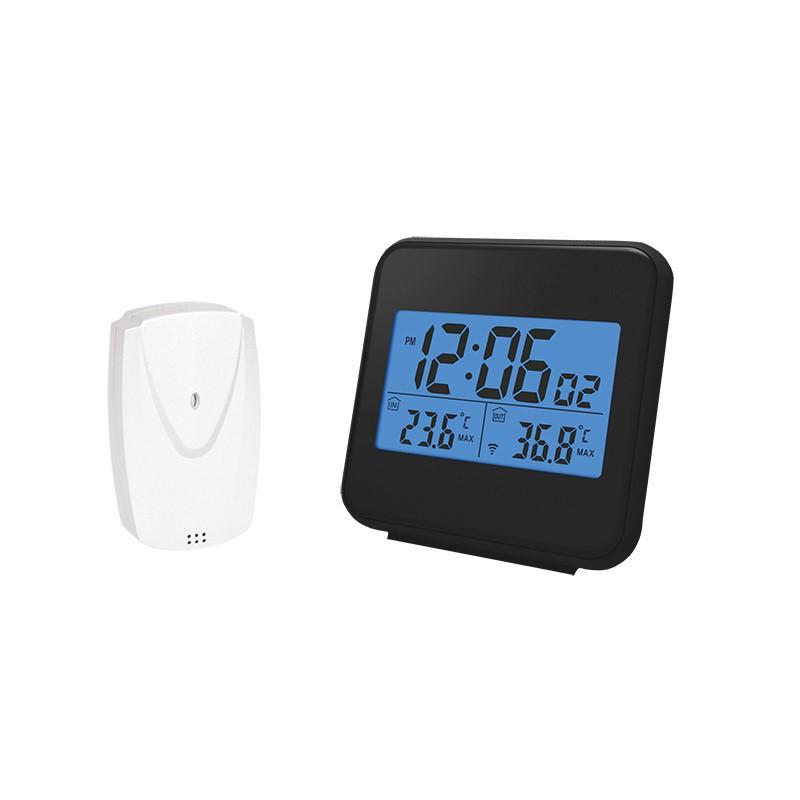 Solight bezdrátový teploměr,vnitřní/venkovní teplota, čas, budík, černý