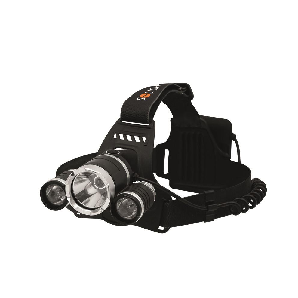 Solight LED čelová svítilna SUPER POWER, 900lm, 3x Cree LED, 4x AA