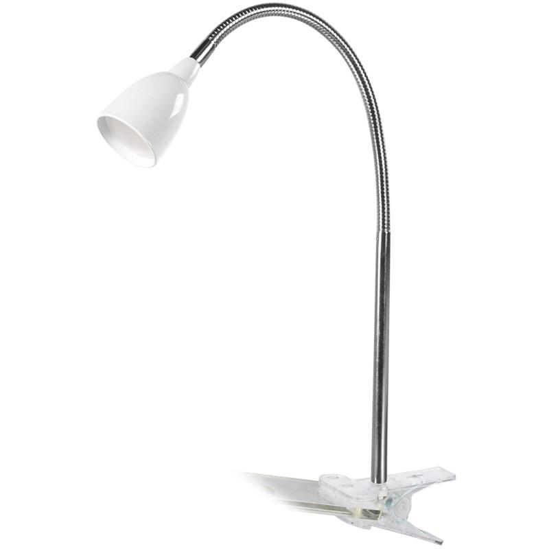 Solight LED stolní lampička, 2.5W, 3000K, clip, bílá barva