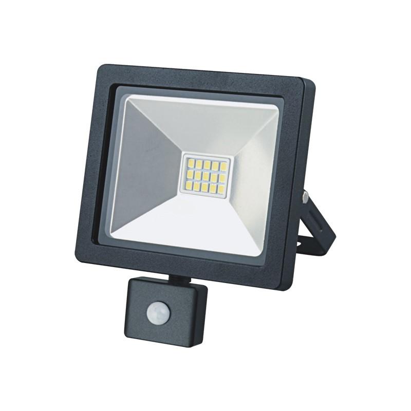 Solight LED venkovní reflektor SLIM, 10W, 700lm, 3000K, se senzorem, černý