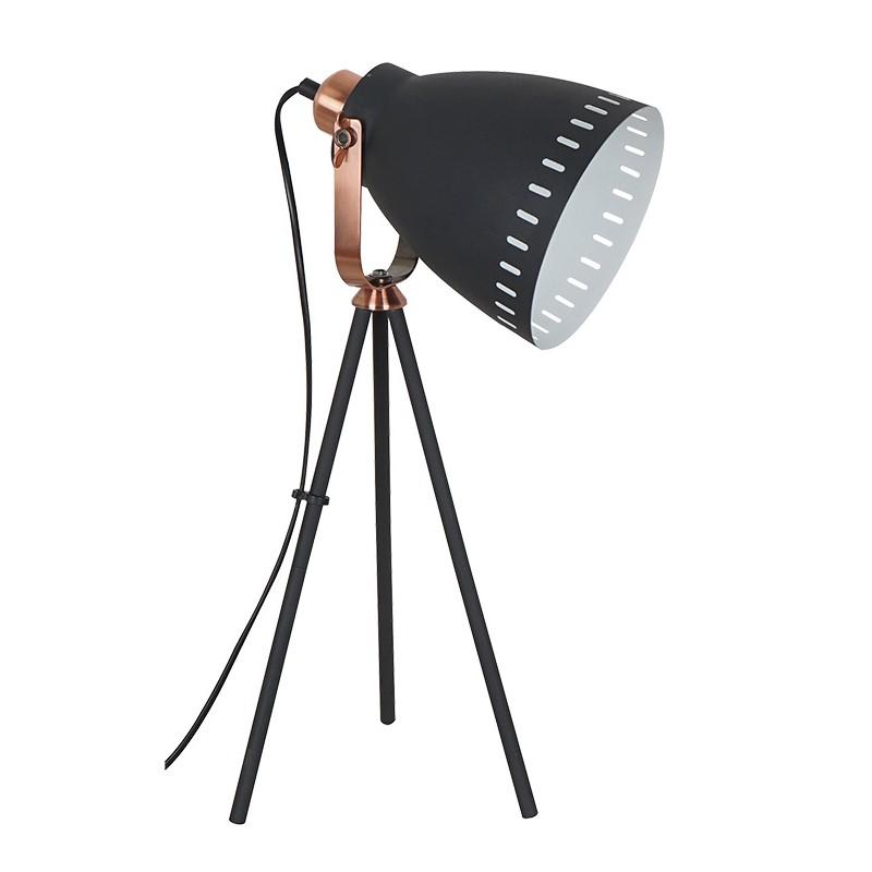Solight stolní lampa Torino, trojnožka, 52cm, E27, černá