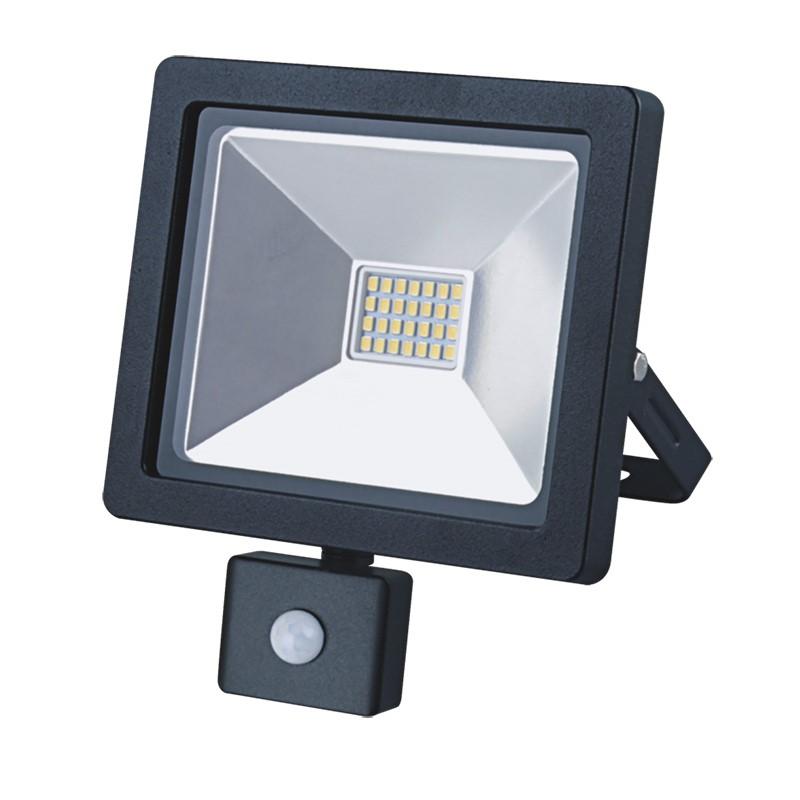 Solight LED venkovní reflektor SLIM, 20W, 1400lm, 3000K, se senzorem, černý