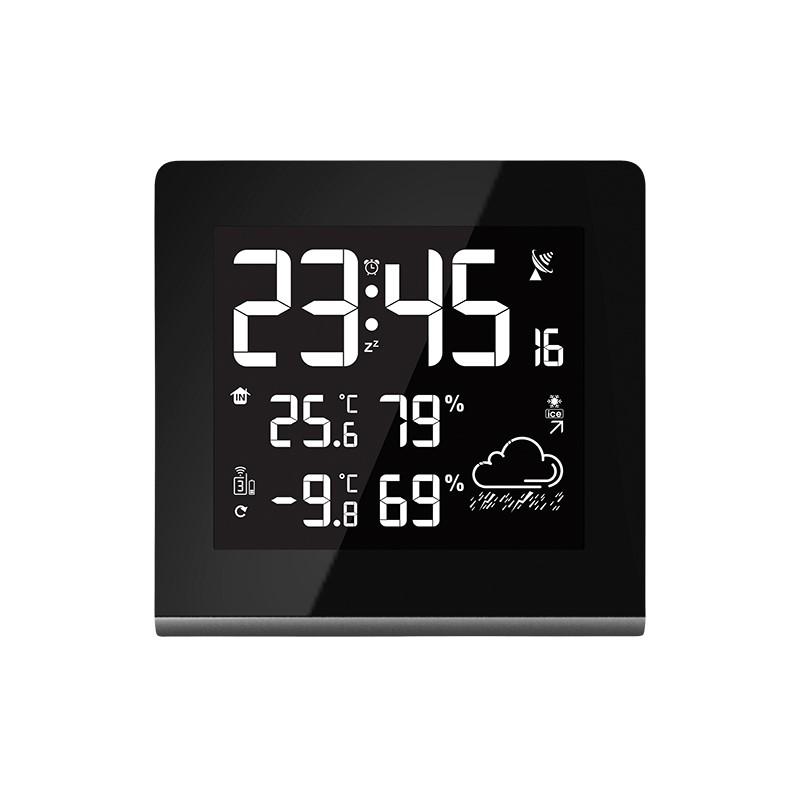 Solight meteostanice, velký LCD s volitelnou barvou podsvícení, vnitřní/venkovní teplota, vlhkost, RCC, černá