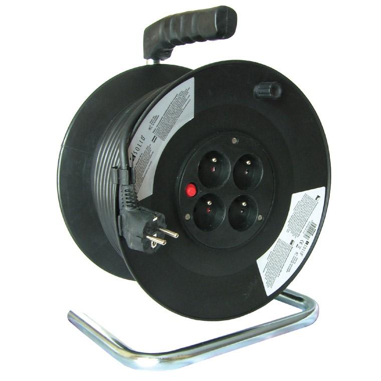 Solight prodlužovací přívod na bubnu, 4 zásuvky, černý, 50m