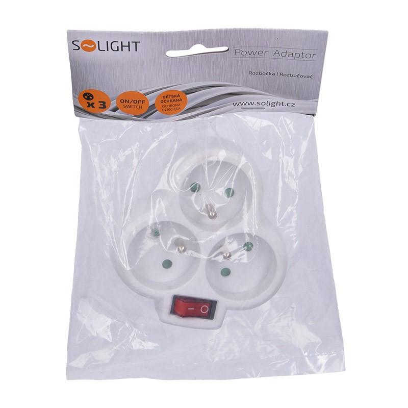 Solight rozbočka, 3 x 10A, bílá, vypínač