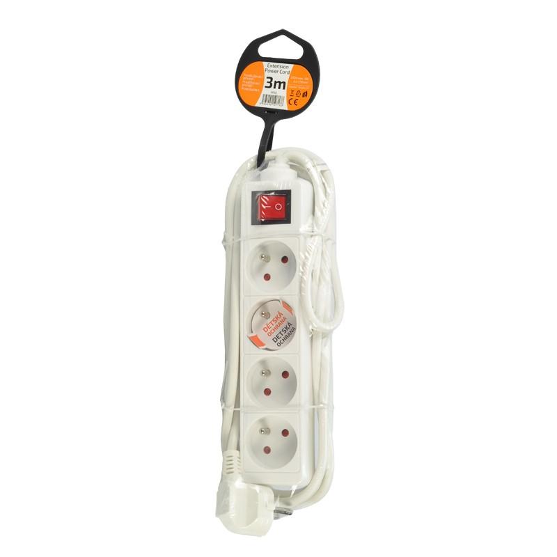 Solight prodlužovací přívod, 4 zásuvky, bílý, vypínač, 3m