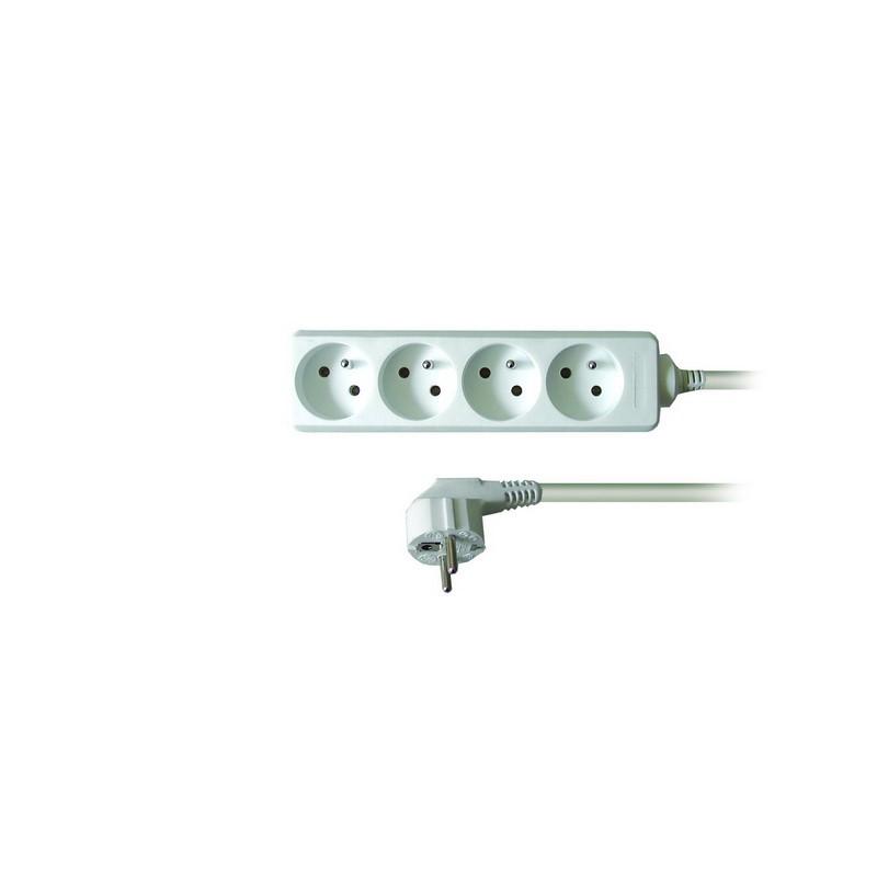 Solight prodlužovací přívod, 4 zásuvky, bílý, 2m