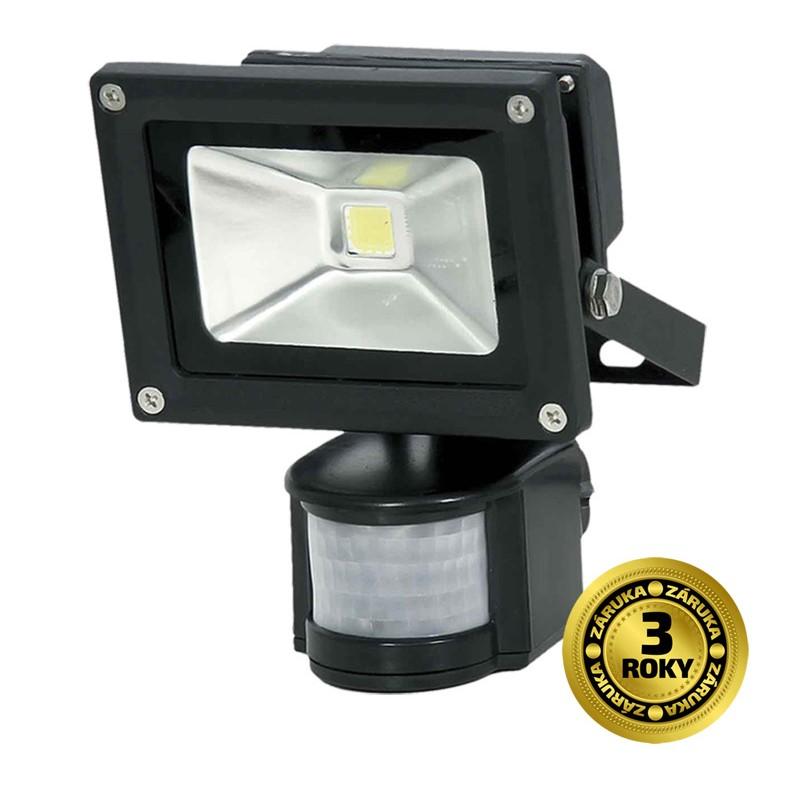 Solight LED venkovní reflektor, 10W, 800lm, AC 230V, černá, se senzorem
