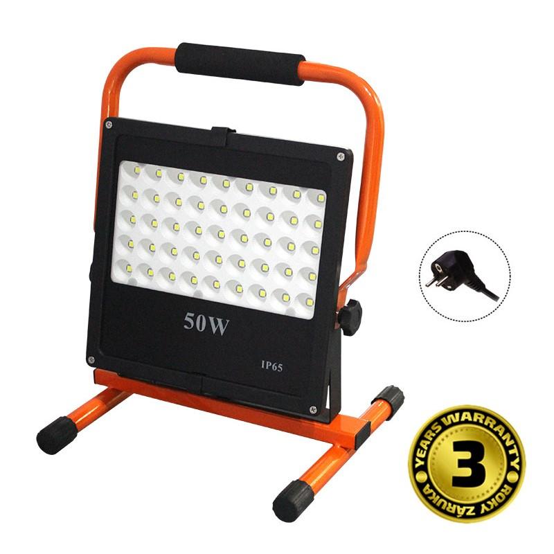Solight LED venkovní reflektor se stojanem, 50W, 4250lm, kabel se zástrčkou, AC 230V