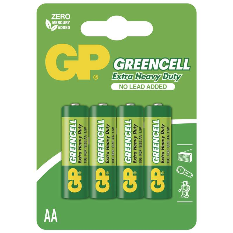 Zinkochloridová baterie GP Greencell R6 (AA), blistr