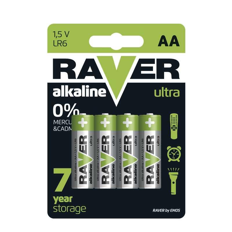 Alkalická baterie RAVER LR6 (AA), blistr