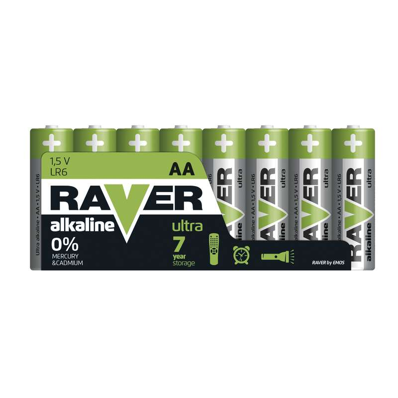 Alkalická baterie RAVER LR6 (AA), fólie