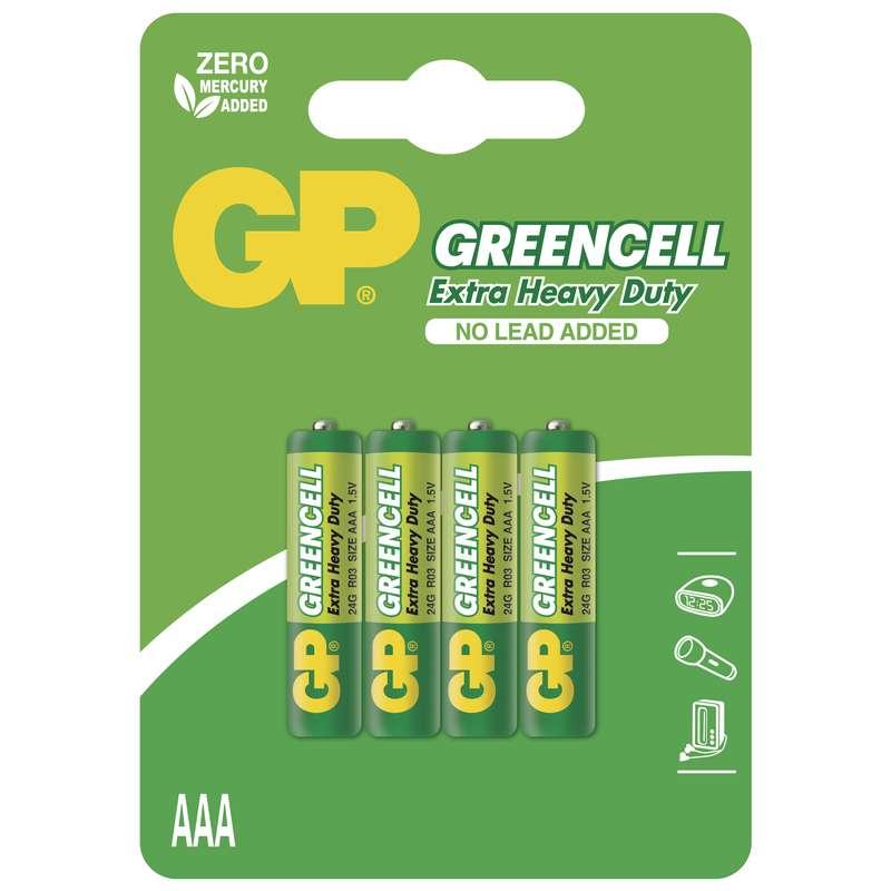 Zinkochloridová baterie GP Greencell R03(AAA),blistr
