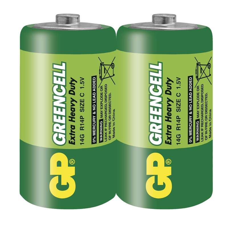Zinkochloridová baterie GP Greencell R14 (C) fólie