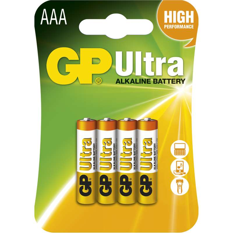 Alkalická baterie GP Ultra LR03 (AAA), blistr