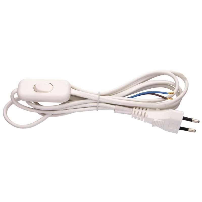Flexo šňůra PVC 2x0,75 mm, 2m bílá s vypínačem