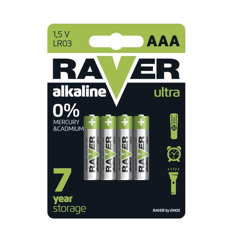 Alkalická baterie RAVER LR03 (AAA), blistr