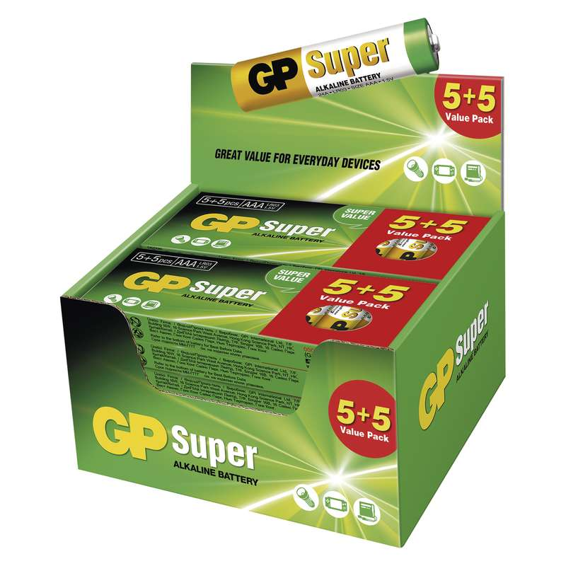 Alkalická baterie GP Super LR03 (AAA), display box