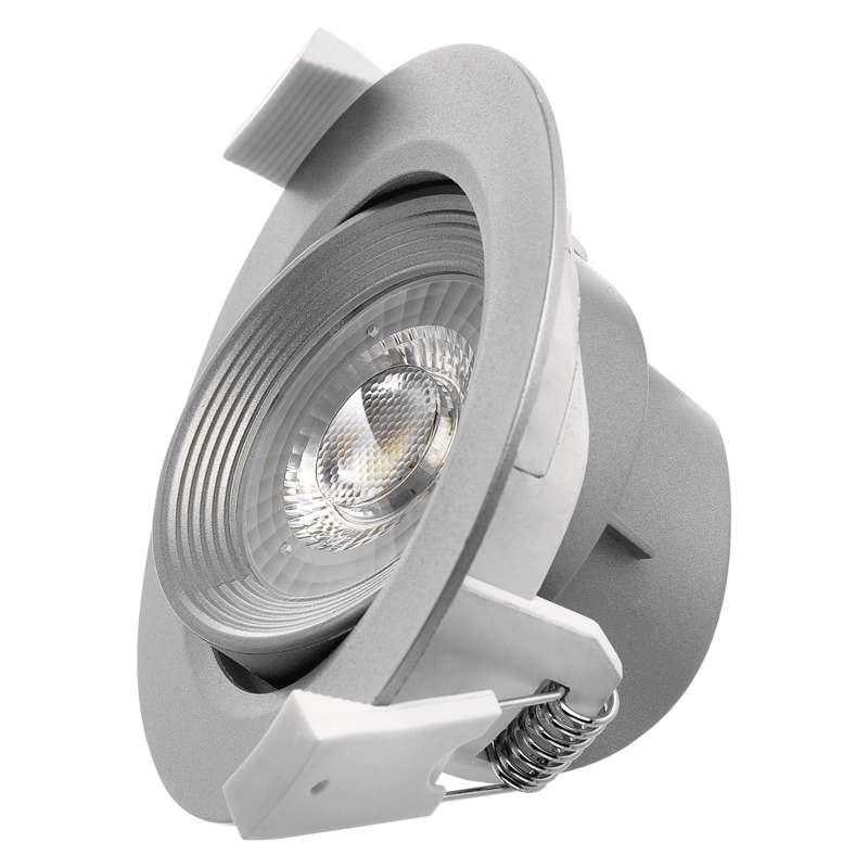 LED bodové svítidlo stříbrné, 7W 3×DIMM teplá bílá