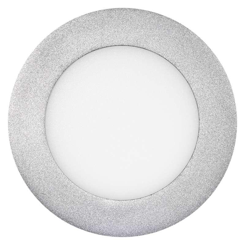 LED panel 120mm, kruhový přisazený stříbrný, 6W neutr. bílá