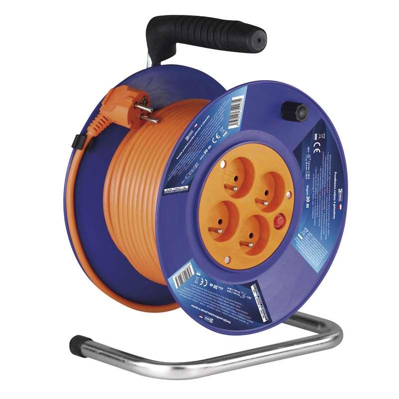 PVC prodlužovací kabel na bubnu - 4 zásuvky 30m 1mm