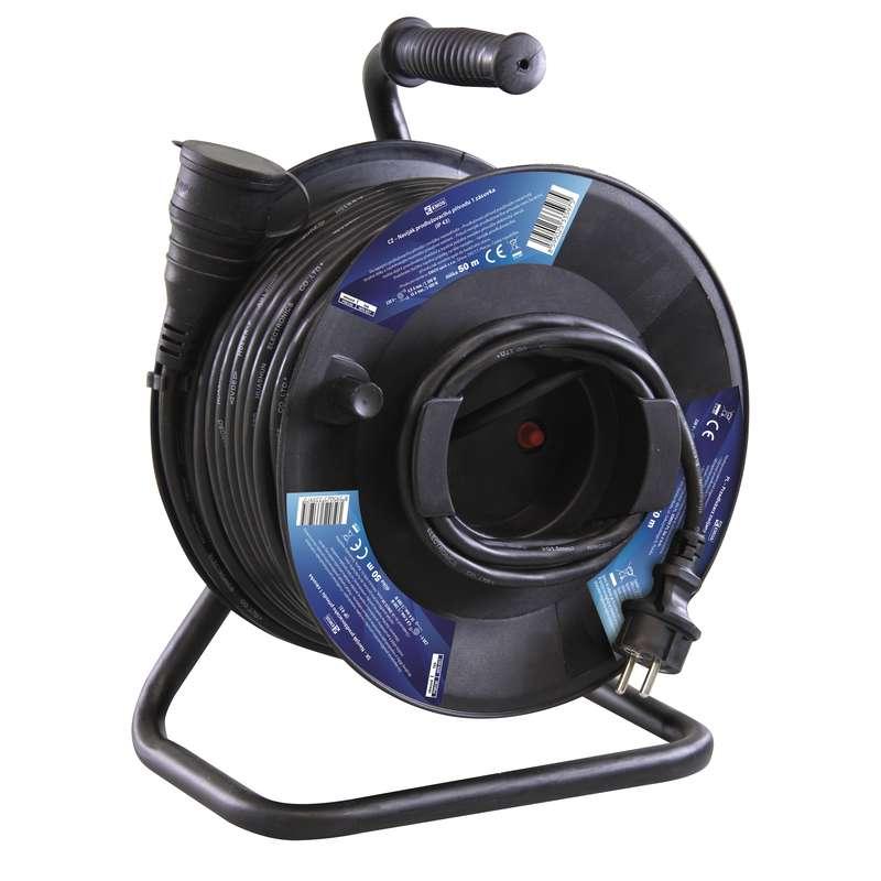 Gumový prodlužovací kabel na bubnu - spojka 50m 1,5mm