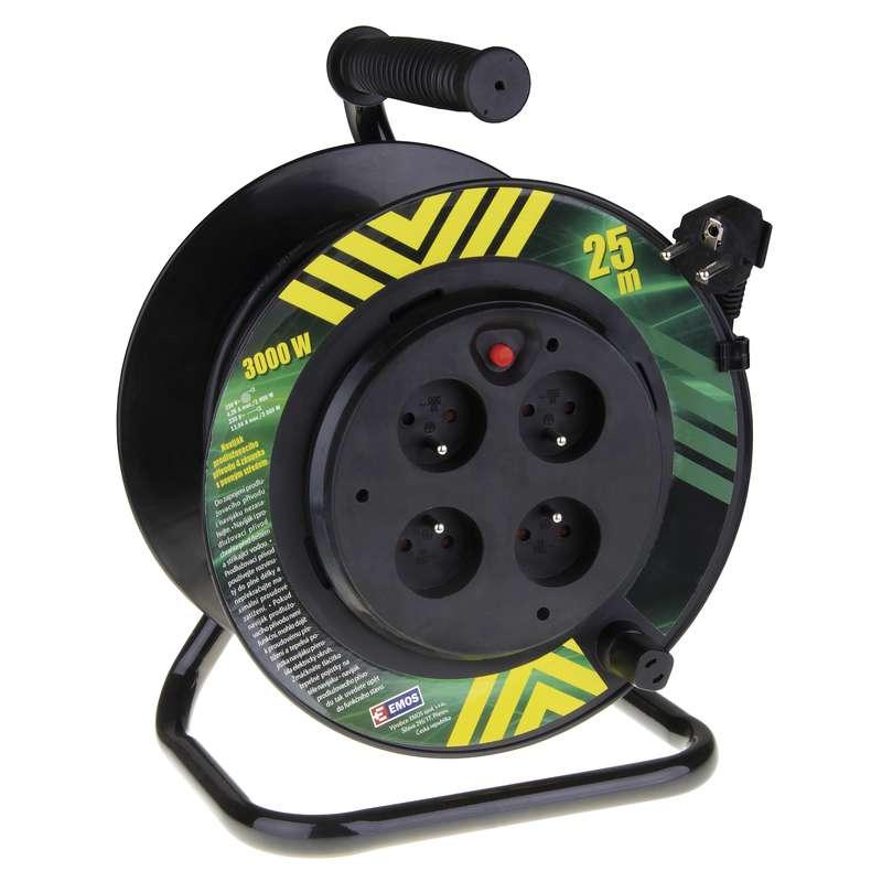 PVC prodl. kabel na bubnu - 4 zásuvky 25m 1,5mm pevný střed