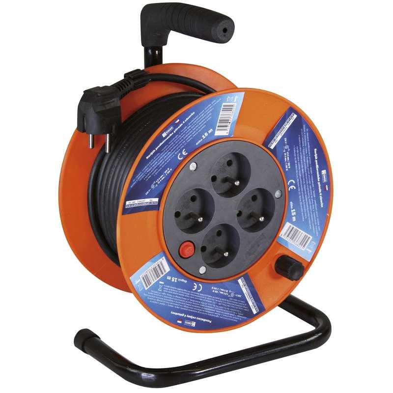 PVC prodlužovací kabel na bubnu - 4 zásuvky 15m 1mm